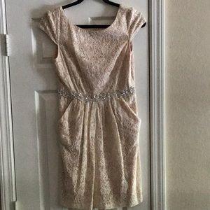 Lace, Cream Mini Length Bridesmaid/Formal dress.